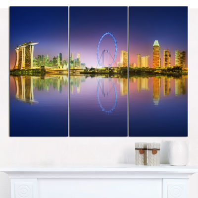 Designart Singapore Skyline And Blue Sky CityscapeCanvas Art Print - 3 Panels