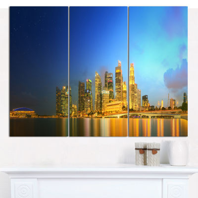 Designart Singapore Skyline And Marina Bay Cityscape Canvas Art Print - 3 Panels