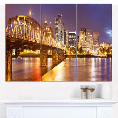 Designart Skyline Of Portland Panorama Cityscape Canvas Art Print - 3 Panels