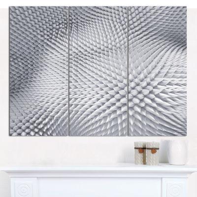 Designart Small 3D White Prickly Design Abstract Canvas Art Print - 3 Panels