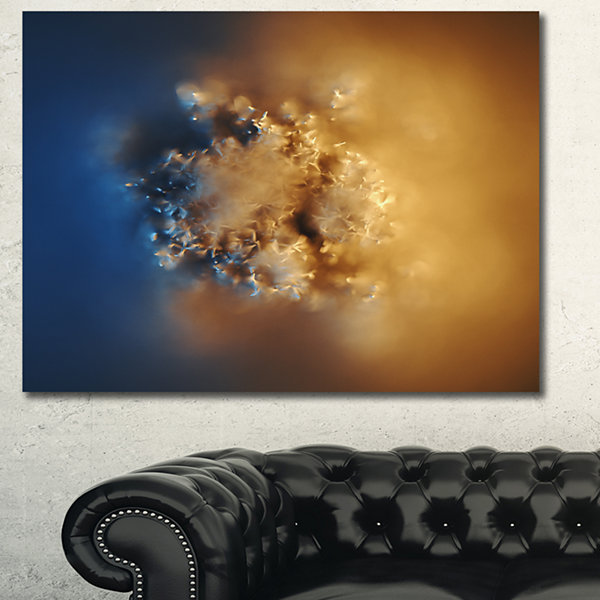 Designart Small Macro Prickly Texture Brown Abstract Canvas Wall Art