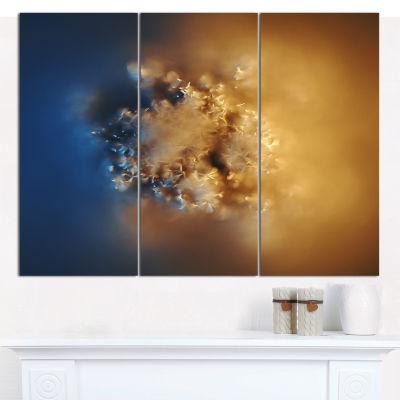 Designart Small Macro Prickly Texture Brown Abstract Canvas Wall Art - 3 Panels