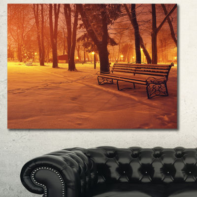 Designart Snow Covered Benches In Evening Landscape Canvas Art Print