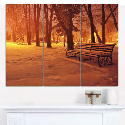 Designart Snow Covered Benches In Evening Landscape Canvas Art Print - 3 Panels