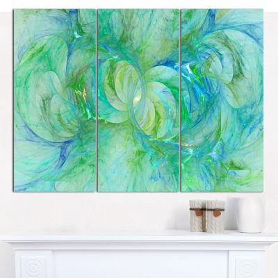 Designart Snow Fractal Glass Texture Abstract Canvas Art Print - 3 Panels