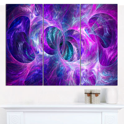 Designart Snow Purple Fractal Texture Abstract Canvas Art Print - 3 Panels