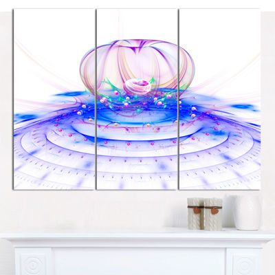 Designart Spectacular Blue 3D Surreal Art Floral Canvas Art Print - 3 Panels