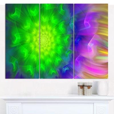 Designart Spectacular Green Dandelion Floral Canvas Art Print - 3 Panels