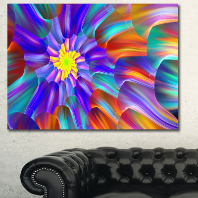 Designart Spectacular Stain Glass With Spirals Floral Canvas Art Print