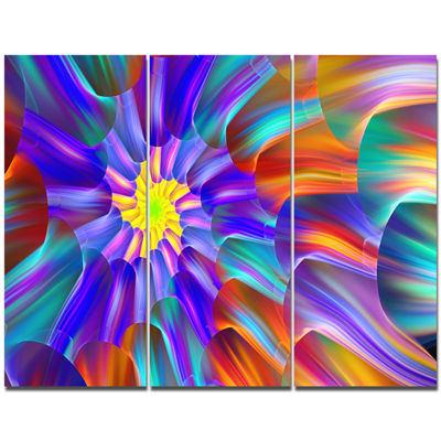 Designart Spectacular Stain Glass With Spirals Floral Canvas Art Print - 3 Panels