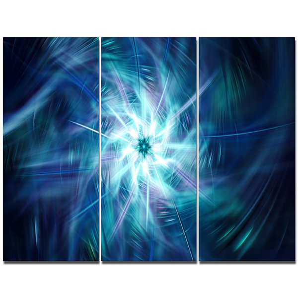 Designart Splaying Bright Blue Fireworks Floral Canvas Art Print - 3 Panels