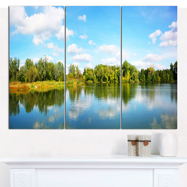 Designart Spring Lake Panorama Landscape Canvas Art Print - 3 Panels
