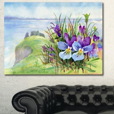 Designart Spring Violet Flowers On Mountain FloralCanvas Art Print
