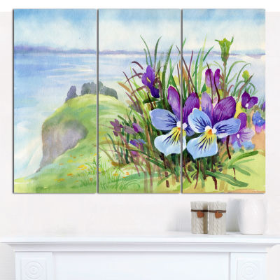 Designart Spring Violet Flowers On Mountain FloralCanvas Art Print - 3 Panels
