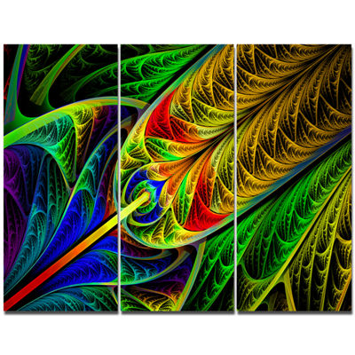 Designart Stained Glass With Glowing Designs Abstract Wall Art Canvas - 3 Panels