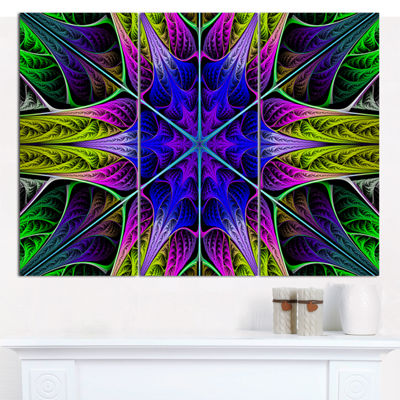 Designart Star Shaped Blue Stained Glass AbstractCanvas Art Print - 3 Panels