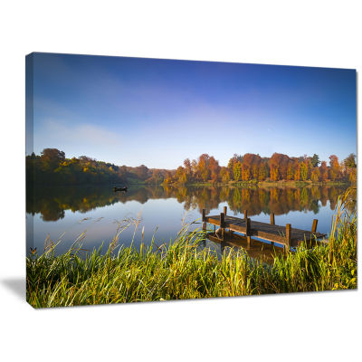 Designart Still Waters Of Fall Lake Landscape Canvas Art Print