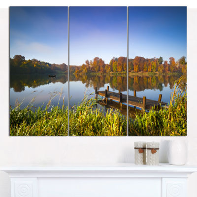 Designart Still Waters Of Fall Lake Landscape Canvas Art Print - 3 Panels