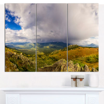 Designart Stormy Sky With Clouds Panorama Landscape Canvas Art Print - 3 Panels