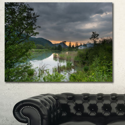 Designart Stormy Weather Over Swamp Landscape Canvas Art Print