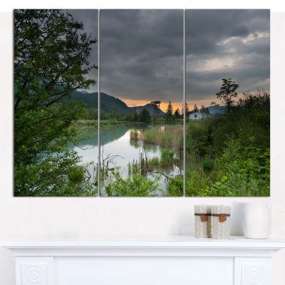 Designart Stormy Weather Over Swamp Landscape Canvas Art Print - 3 Panels