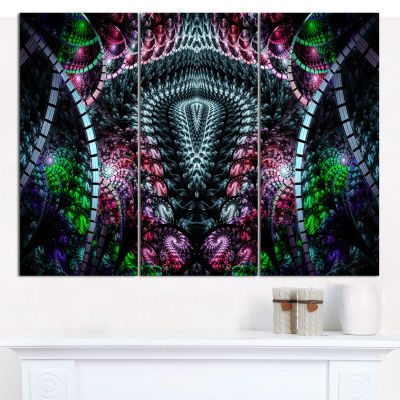 Designart Strange Fractal Design On Black AbstractWall Art Canvas - 3 Panels