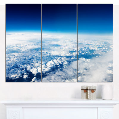 Designart Stunning View From Airplane Landscape Canvas Art Print - 3 Panels