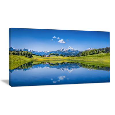 Designart Summer With Clear Mountain Lake Landscape Canvas Art Print