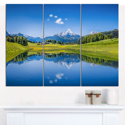 Designart Summer With Clear Mountain Lake Landscape Canvas Art Print - 3 Panels