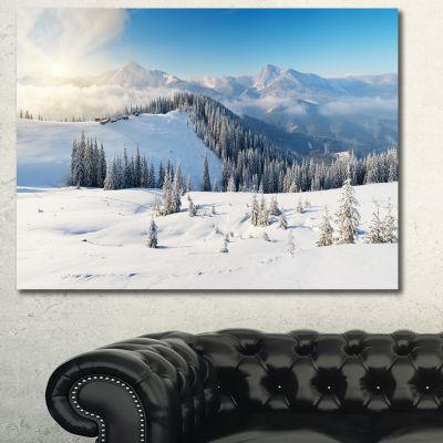 Designart Sunny Morning In Mountains Landscape Canvas Art Print