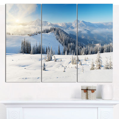 Designart Sunny Morning In Mountains Landscape Canvas Art Print - 3 Panels
