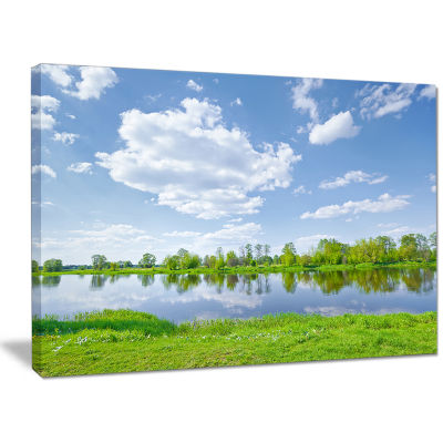 Designart Sunny Spring By Narew River Landscape Canvas Art Print