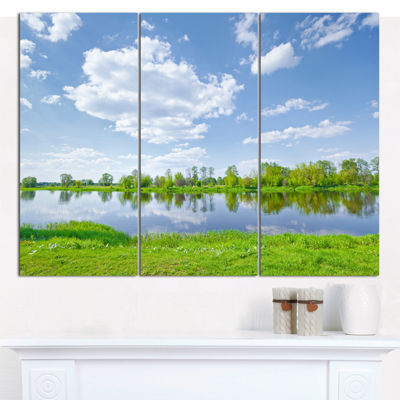 Designart Sunny Spring By Narew River Landscape Canvas Art Print - 3 Panels