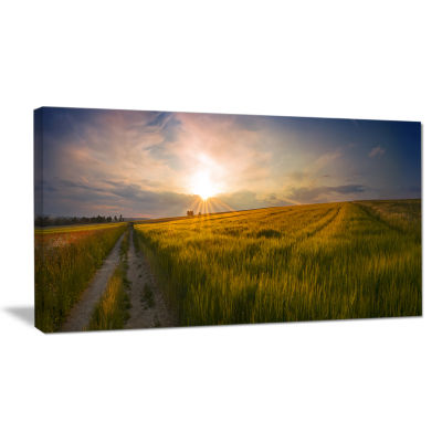Designart Sunset In Field Of Grain Panorama Landscape Canvas Art Print