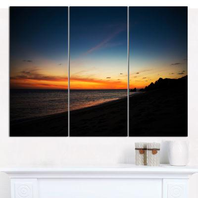 Designart Sunset Over Beach In Cabo St.Lucas Landscape Canvas Art Print - 3 Panels