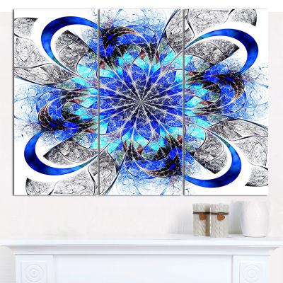 Designart Symmetrical Blue Fractal Flower AbstractWall Art Canvas - 3 Panels