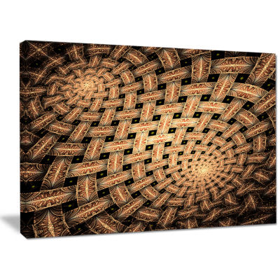 Designart Symmetrical Brown Fractal Flower Abstract Wall Art Canvas
