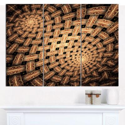 Designart Symmetrical Brown Fractal Flower Abstract Wall Art Canvas - 3 Panels