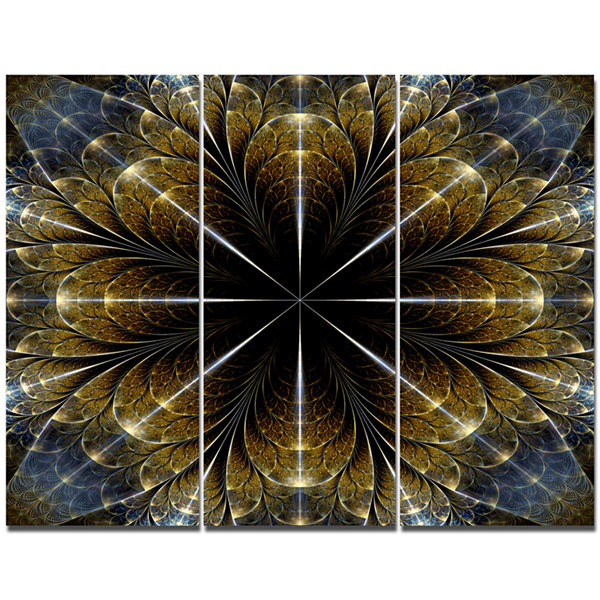 Designart Symmetrical Gold Fractal Flower AbstractCanvas Art Print - 3 Panels