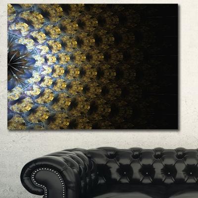 Designart Symmetrical Gold Fractal Flower AbstractWall Art Canvas