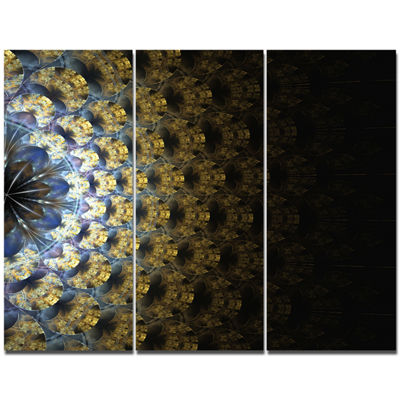 Designart Symmetrical Gold Fractal Flower AbstractWall Art Canvas - 3 Panels