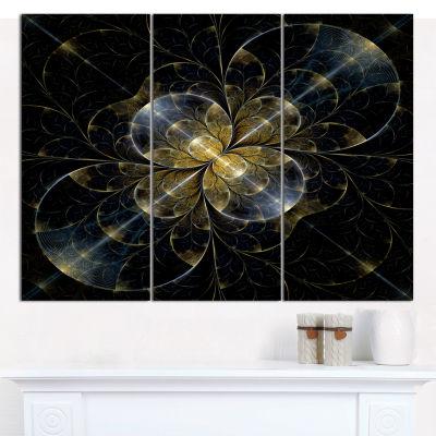 Designart Symmetrical Golden Fractal Flower FloralCanvas Art Print - 3 Panels