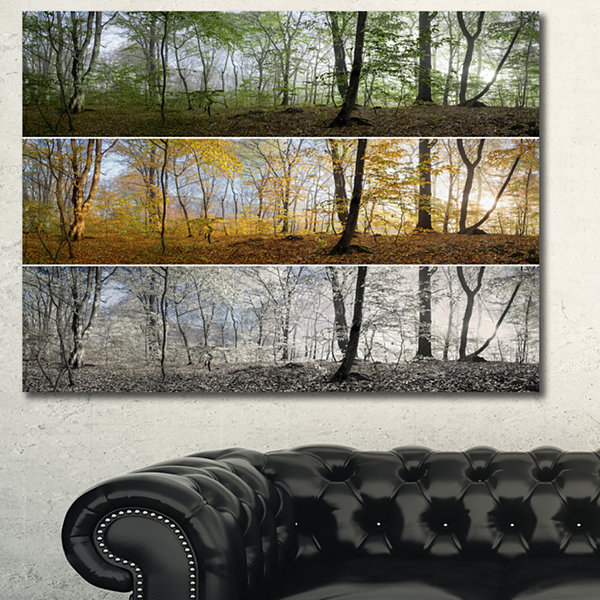 Designart Three Seasons Forest Panorama LandscapeCanvas Art Print