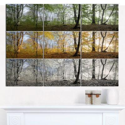 Designart Three Seasons Forest Panorama LandscapeCanvas Art Print - 3 Panels