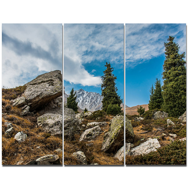 Designart Tien Shan Mountains In Almaty LandscapeCanvas Art Print - 3 Panels
