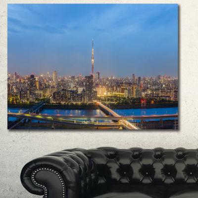 Designart Tokyo City View Panorama Landscape Canvas Art Print