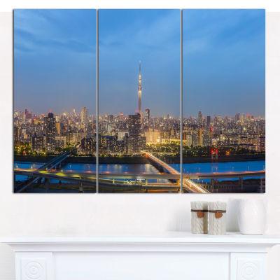 Designart Tokyo City View Panorama Landscape Canvas Art Print - 3 Panels