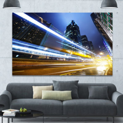 Designart Traffic In Hong Kong At Night CityscapeCanvas Art Print