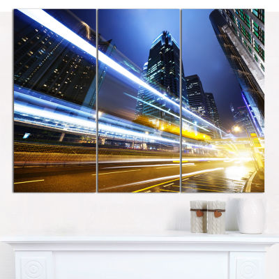 Designart Traffic In Hong Kong At Night CityscapeCanvas Art Print - 3 Panels