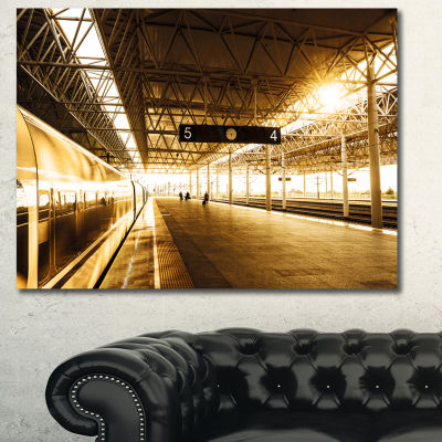 Designart Train At Railway Station With Sunlight Landscape Canvas Art Print